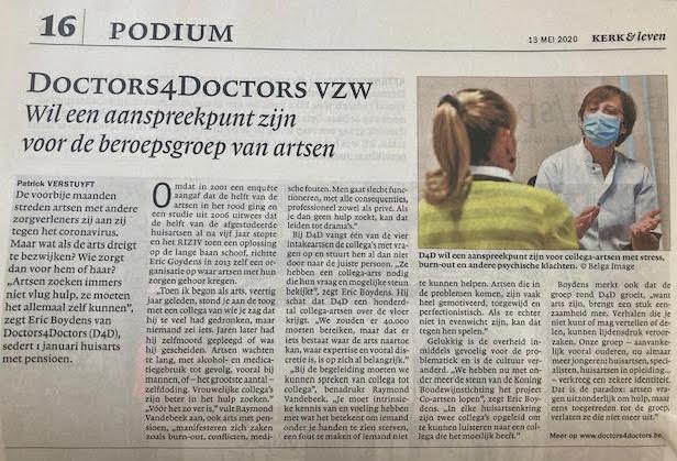 Doctors4Doctors nieuws Kerk en Leven 15 mei 2020